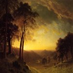 Albert Bierstadt (1830-1902)  Sacramento River Valley  Oil on canvas, c.1872  32 x 48 1/8 inches (81.5 x 122.5 cm)  Thyssen-Bornemisza Collection, Madrid
